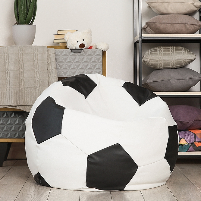 Kito-poof Delicatex White-Black Large Bean Bag Sofa Lima Lounger Seat Chair Living Room Furniture Removable Cover With Filler Kids Comfortable Sleep Relaxation Easy Beanbag Bed Pouf Puff Couch Tatam Solid Poof  Pouffe white bean bag sofa set with stool rest living room waterproof beanbag home furniture set