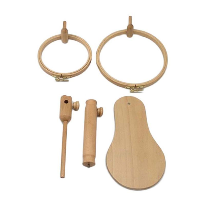 Image 2 - Wood Embroidery Hoop Stand Cross Stitch Needlework Ring Frame Sewing Tool Adjustable 35 45cmSewing Tools & Accessory   -