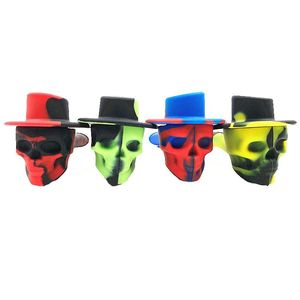 2019 HOT Mini Unbreakable Travel Silicone Pipe with Lid Skull-Shaped Smoking Pipe Weed Grinder Tobacco Cigarette Accessories Top(China)