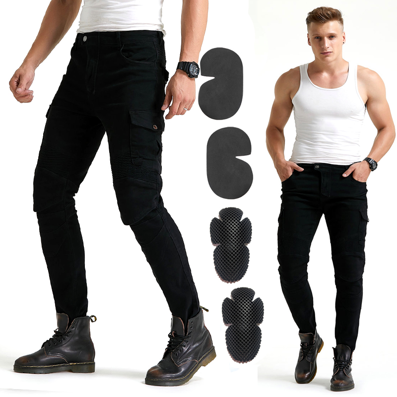 2020 NEW fashion Khaki MOTO pants man Motorbike pants black jeans Blue motorcycle Jeans with protector Armor Knee WF-06