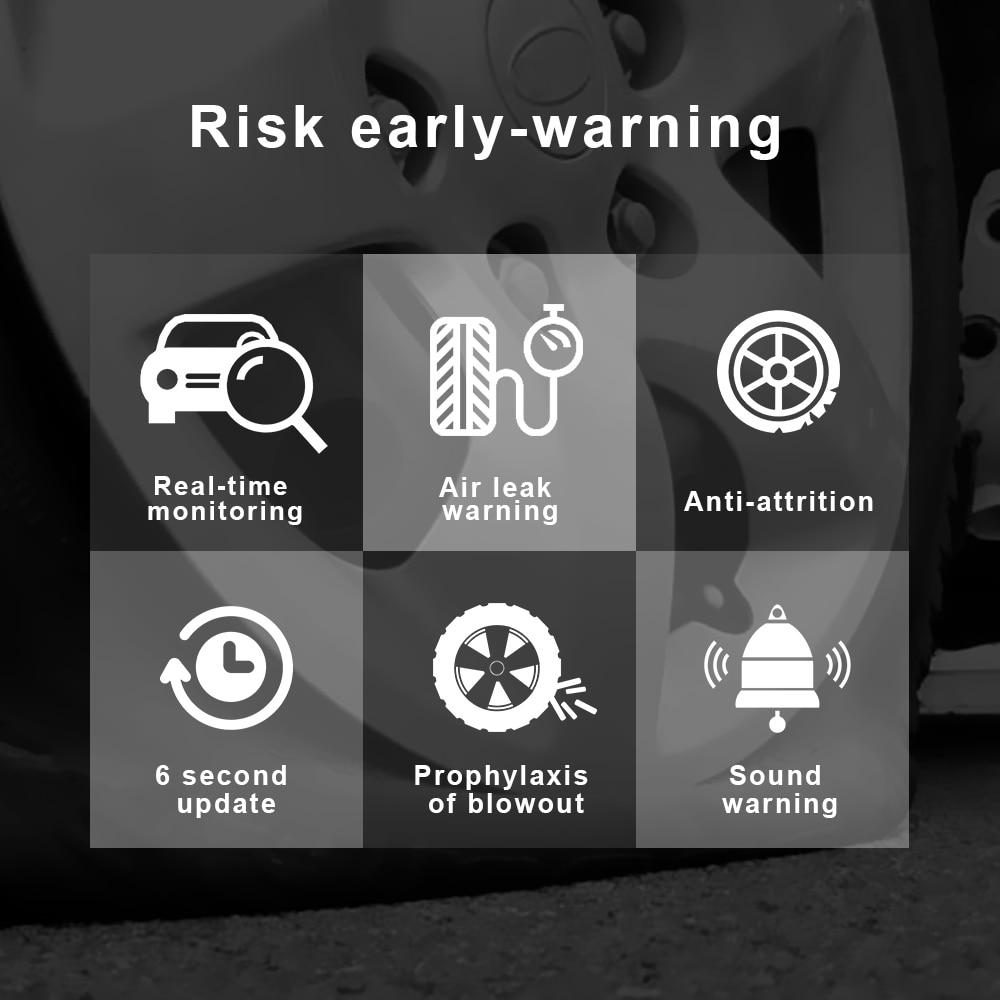 LEEPEE Tire Pressure TPMS Sensor Car Tire Pressure Monitoring System Solar Power Digital LCD Display Auto Security With 4 Sensor 4