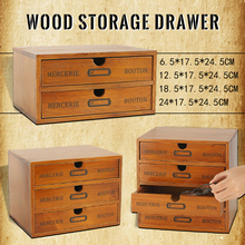 Retro Wooden Drawer Storage Box Office Desktop Storage Cabinet Drawer Type Jewelry Cosmetic Organizer Sundries Finishing Box tanie tanio CN(Origin) Storage Drawers E0501VK468 Eco-Friendly