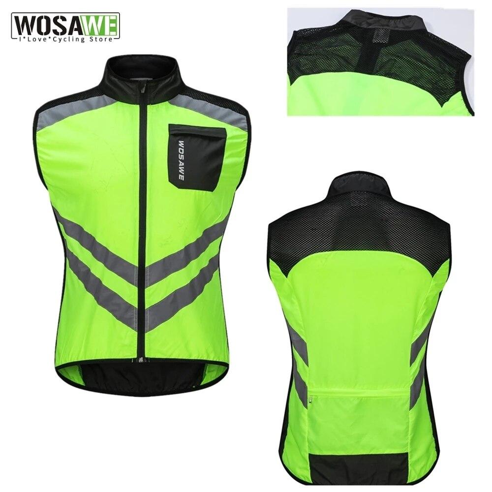 WOSAWE Reflective Vest Windproof Running Safety Vest Motorcycle Cycling Gilet MTB Riding Bike Bicycle Clothing Sleeveless Jacket