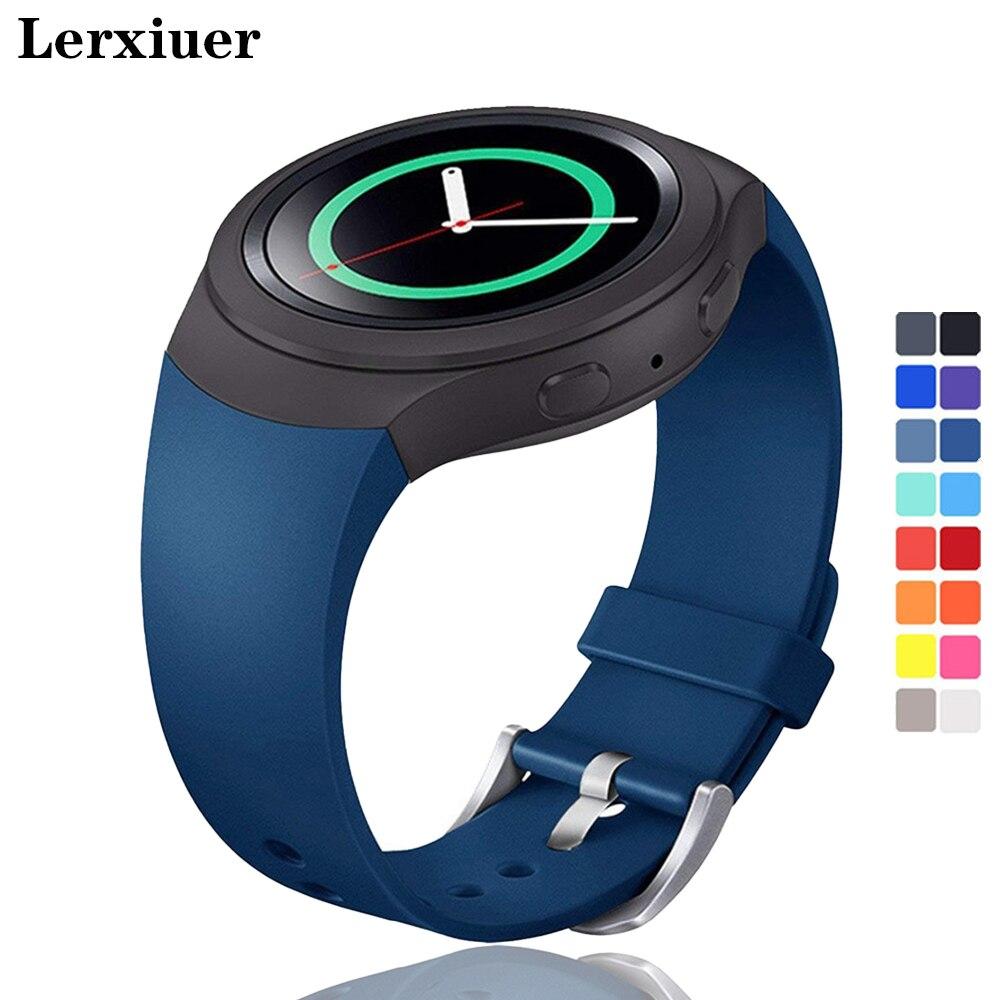 Lerxiuer pulseira esportiva para samsung galaxy gear s2 banda r720 r730 pulseira de relógio inteligente pulseira de pulso de silicone correia de pulseira correa