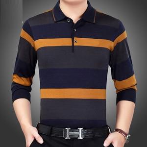 Image 5 - 2019 Mannen Gestreept Polo Shirt Lange Mouwen Herfst Winter Nieuwe Mode Hoge Kwaliteit Mannelijke Toevallige Effen Polo Shirt Merk Kleding