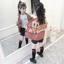 НОВАЯ РОЖДЕСТВЕНСКАЯ куртка для девочек, свитер осень-зима, модный шерстяной детский свитер, вязаная одежда для девочек, верхняя одежда