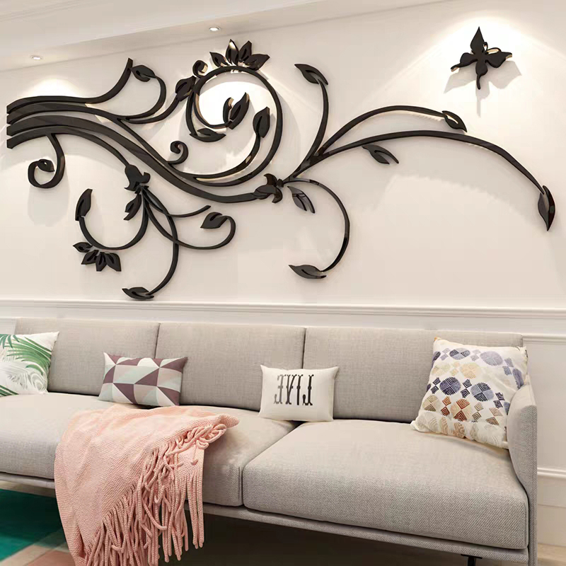 3D Flower Vine Acrylic Wall Stickers Elegant Butterfly Crystal Three-Dimensional Wall Stickers TV Wall Home Decoration Free Ship image