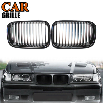 Pair Front Sport Kidney Grille Grills Gloss Black for BMW E36 318 328 328 1992-1996 Racing Grills image