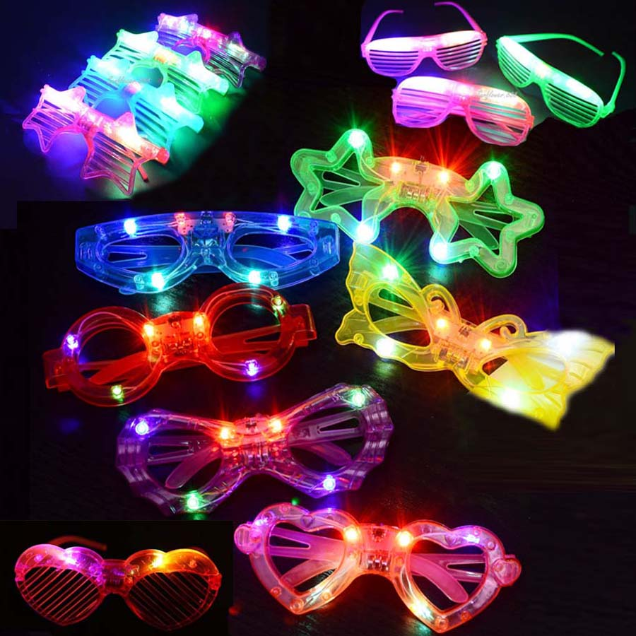 1pcs LED Light Toys Shutter Blinds Glasses Flashing Wreath Tie Hat Garland Wedding Carnival Glow Rave Birthday Party Supplies