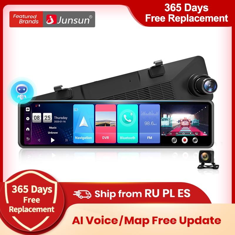 Junsun A103 ИИ Голосовое управление тройной экран 4G Android 8.1 wifi авто видеорегистратор зеркало заднего вида автомобильная зеркальная камера заднег...