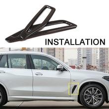 JEAZEA 2Pcs  Carbon Fiber ABS Car Leaf Plate Air Inlet Frame Trim Cover Sticker Decoration Fit for BMW X5 2019