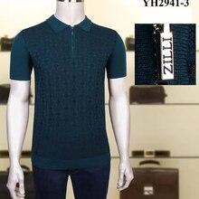 Billionaire polo shirt silk men 2021 New fashion simple short sleeve new thin zipper elasticit Breathable big size M-4XL quality