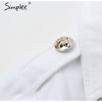 Simplee Vintage double breasted white trench coat for women Sashes slim long trench female Winter office solid trench dress 5