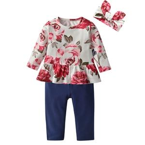 Комплект одежды для маленьких девочек, милый Повседневный Топ с цветочным принтом и штаны, повязка на голову, Одежда для новорожденных на весну и осень