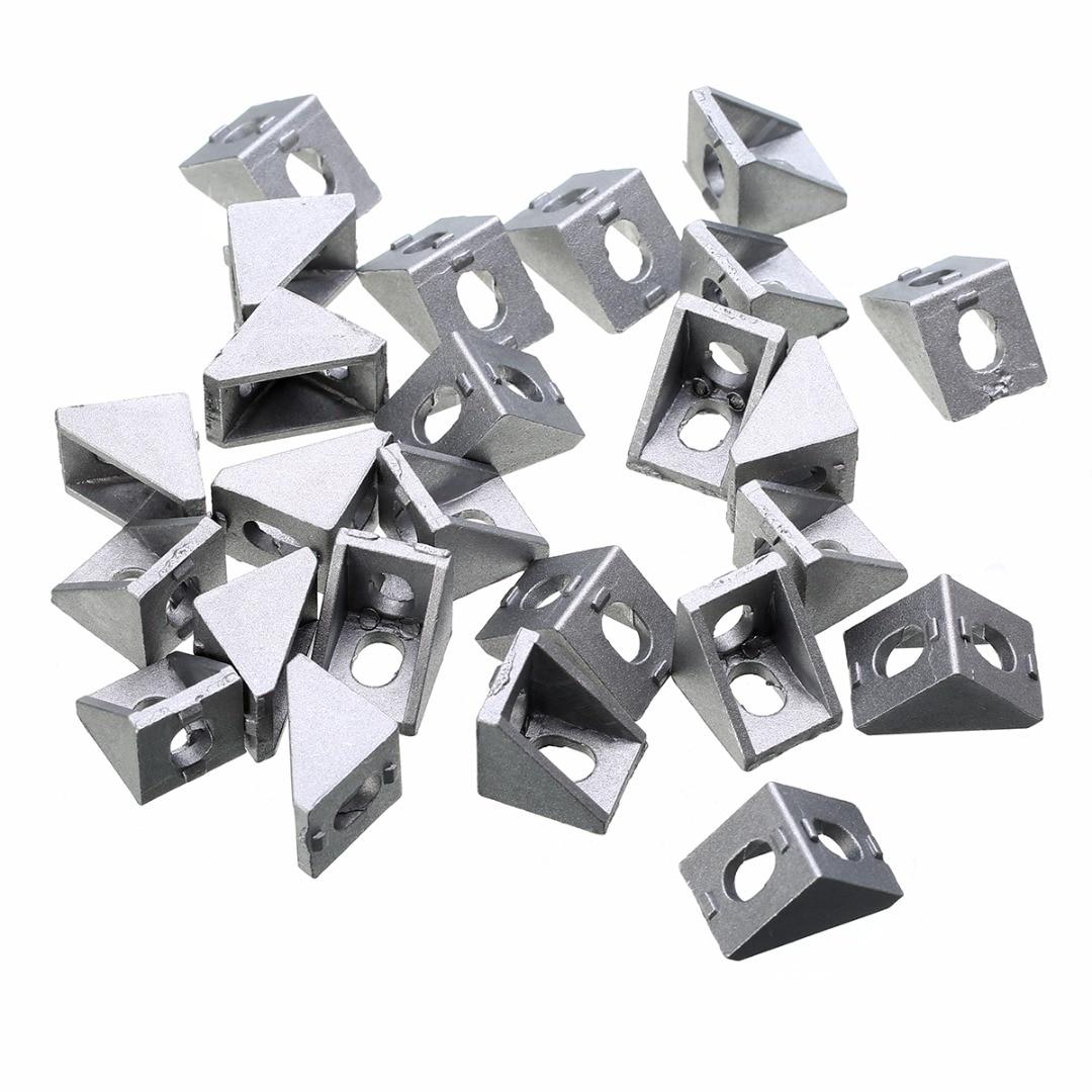25pcs Durable Silver Aluminum Bracket 2020 Corner Bracket 20x20x17mm Solid Cast