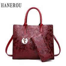 Designer Printing Flower Tote Bag Ladies 2Pcs Composite Roses Embossed Handbag And Purses Set Retro Crossbody Bags For Women