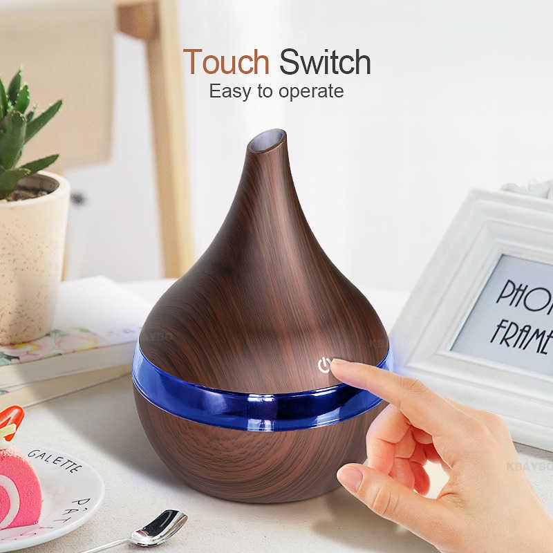Kbaybo 300ml usb difusor de ar aroma elétrico grão madeira umidificador ar ultra-sônico fabricante névoa fria com 7 cores luzes para casa
