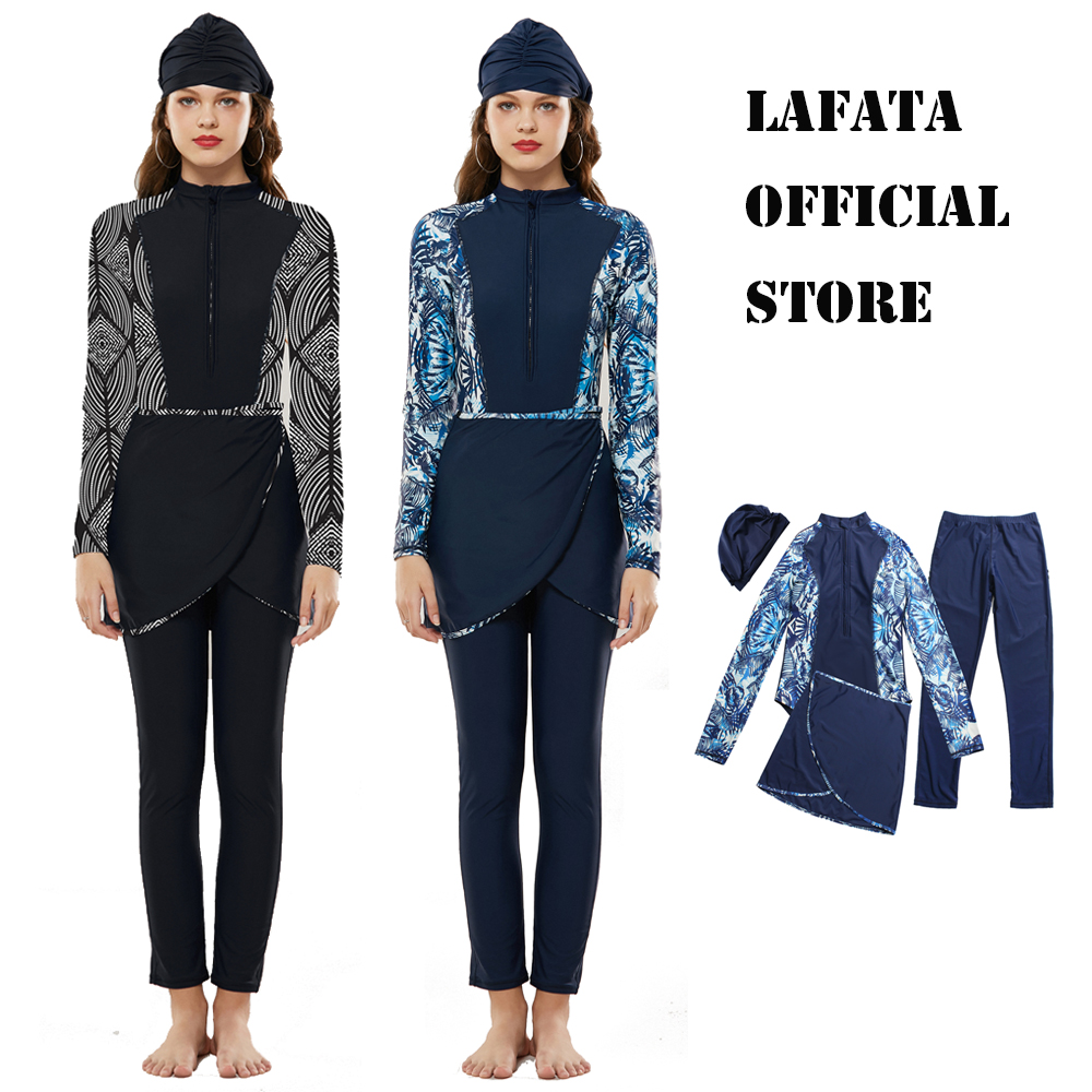 LaFata Official Store Muslim Swimwear Burkini Islam Swimsuit Bikini Beachwear Modest Swimwear Plus Size image