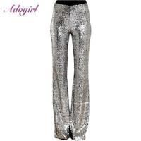 Casual Sequins Wide Leg long Pants Women 2019 Glitter Silver Black High Waist Trousers female outfit streetwear club flare pants