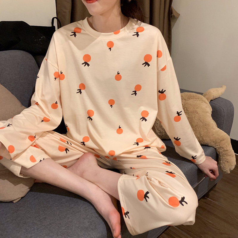 Women's Two Piece Pajamas Set Loose Long Sleeve Plus Size Home Wear Cartoon Fruit Printed Round Neck Top + Trousers Suit