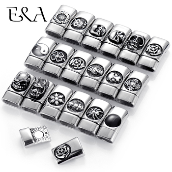 Stainless Steel 12*6mm Hole Magnetic Clasps for Leather Bracelet Cross Skull Anchor Owl Clasp DIY Jewelry Making Accessories