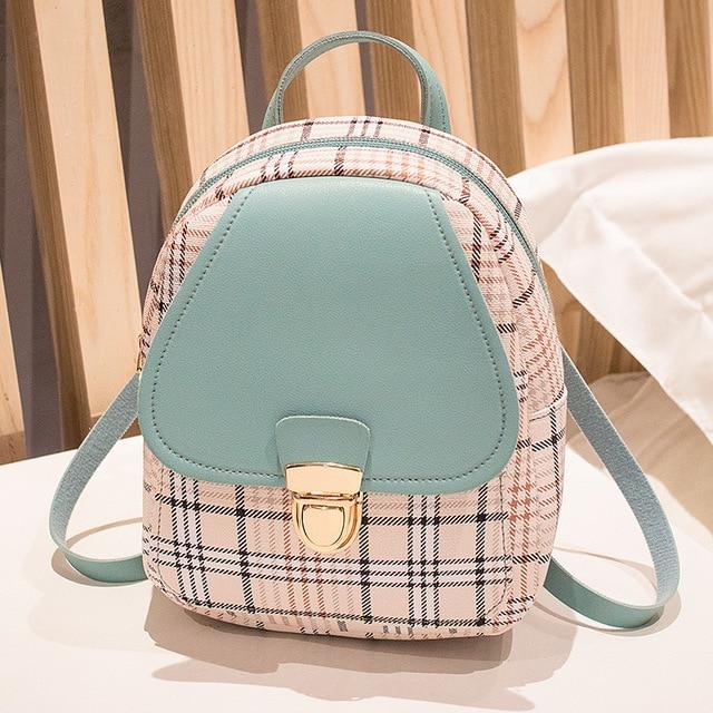 Mini Backpack Crossbody Bag For Teenage Girl Plaid Women Shoulder Phone Purse Korean Style New Trendy Female 2021 6