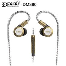 DUNU DM380 Linearlayout üçlü titanyum diyafram sürücü In kulak kulaklık HiFi aktif Crossover MIC ile/3 düğmeler kolayca tahrikli