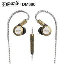 Dunu dm380 linearlayout triplo titânio diafragma driver in ear fone de ouvido alta fidelidade ativo crossover com mic/3 botões facilmente conduzido
