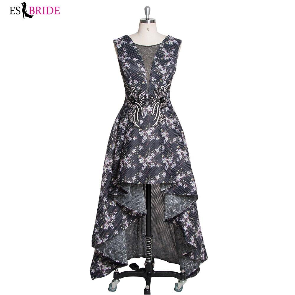 Haut-bas court avant longue dos robes de bal impression noir élégant robe de soirée vestidos de fiesta livraison gratuite
