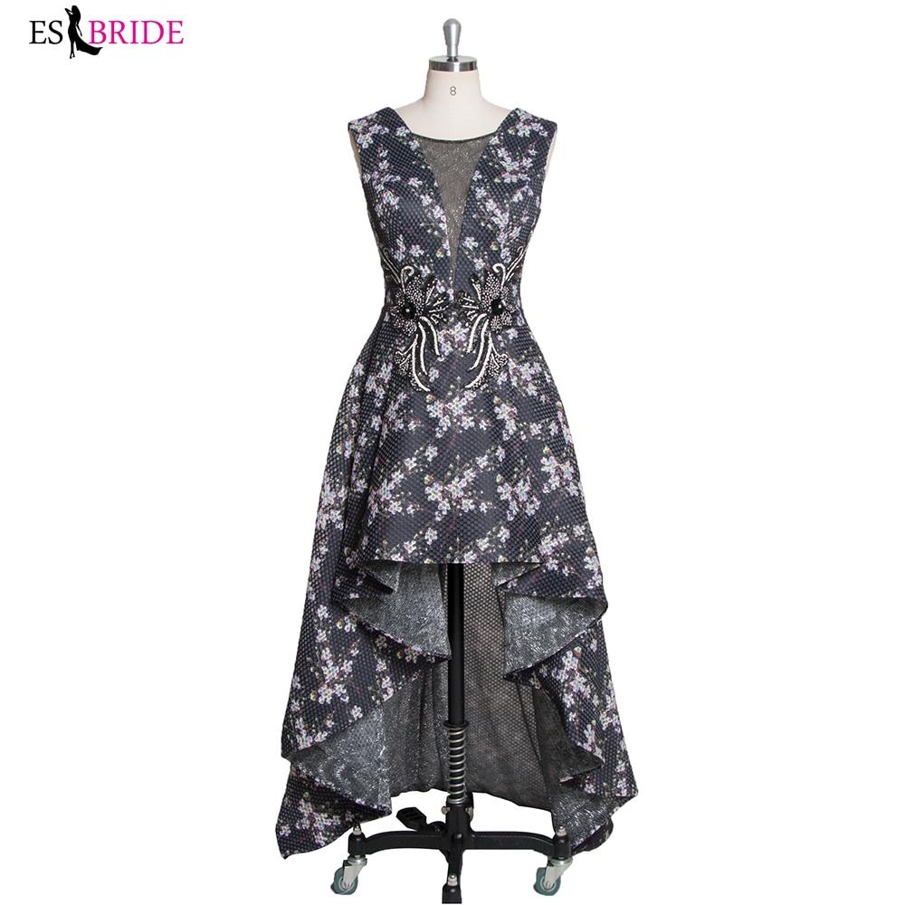LT3624 haut bas style robes de bal élégant soirée robe de bal vestidos de fiesta robes de cocktail noir imprimé fleuri robe de bal