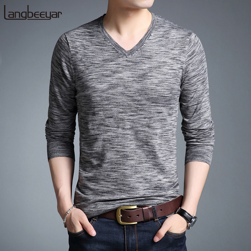 2019 New Fashion Brand Sweaters Men's Pullovers V Neck Slim Fit Jumpers Knitwear Woolen Winter Korean Style Casual Mens Clothes