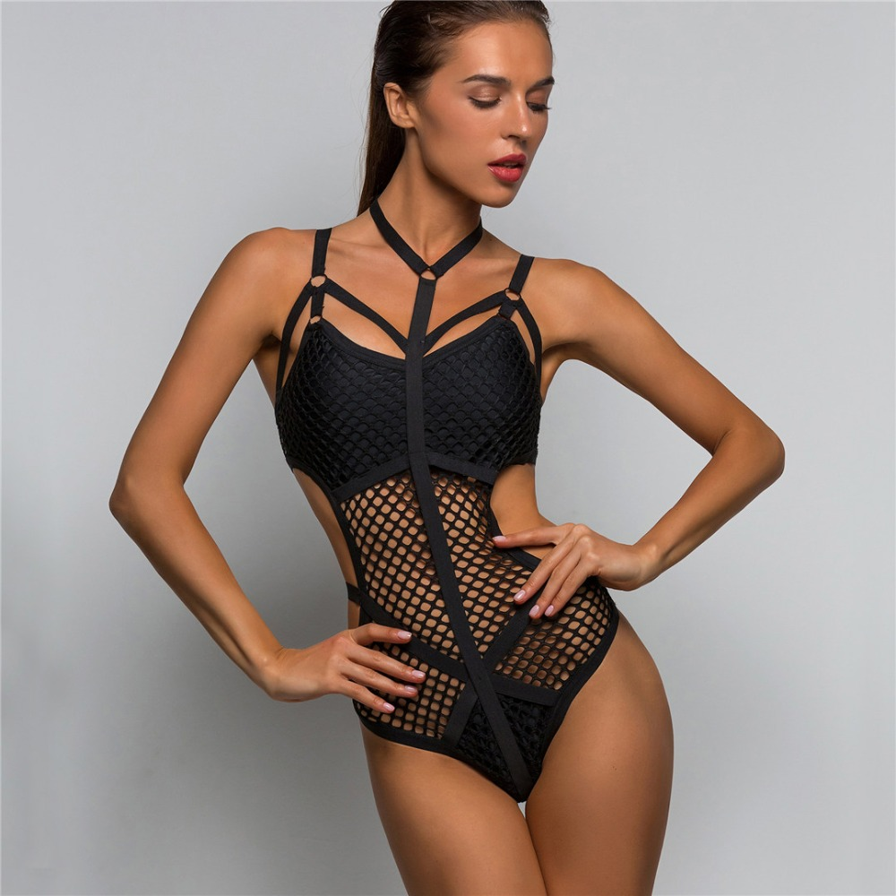 Women Black Sheer Knit Net Mesh Sexy Women Swimwear One Piece Swimsuit Female Bather Bathing Suit Swim Halter