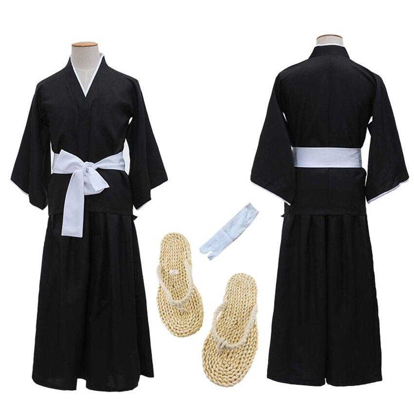 Unisex Anime Bleach Cosplay Ichigo Kurosaki Bankai Long Kimono Man Japanese Traditional Retro Samurai Yukata Clothing Set