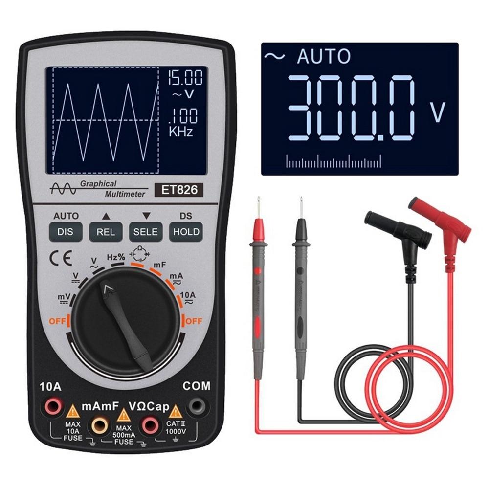 MT8206 2 In 1 Digital Oscilloscope Multimeter with Analog Bar Graph ET826 Multimeter Auto Range Backlight DC/AC Current Meter