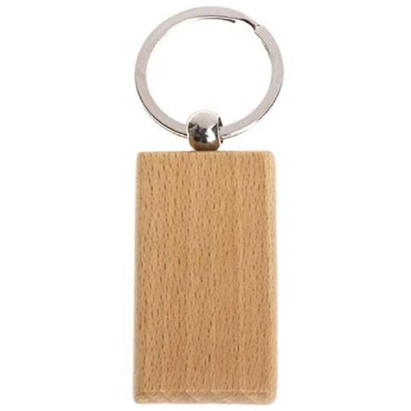 ABSS-60Pcs Blank Rectangle Wooden Key Chain Diy Wood Keychains Key Tags Can Engrave Diy Gifts