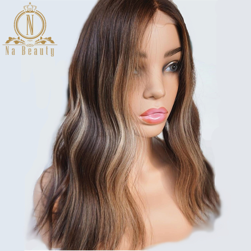 Brown And Blonde Highlight Wig 13x6 Lace Front Wigs Ombre Colored Human Hair Water Wave Wig Pre Plucked Women Bleached Knots 180(China)