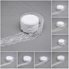 Fita de laço branco de 10 quintas, fita de renda branca de 25mm, tecido bordado diy, roupa de artesanato, presente, embalagem, costura de casamento decoração