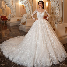 2019 Gorgeous Long Sleeve Ball Gown Wedding Dresses Abiti Da Sposa Beading Appliques Lace Buttons Up Bridal Dress Trouwjurk(China)