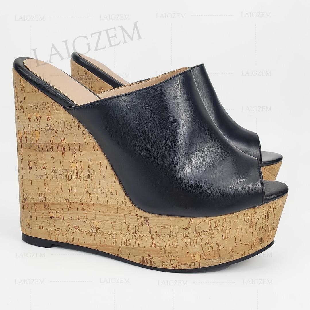 LAIGZEM Women Sandals Cork Platform Wedges Mules Slip On High Heels Sandalias de Verano Sapato Pumps Feminino Big Size 41 44 52