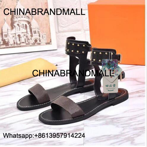Luxur Branded Women Print Leather Nomad Sandals Designer Leather Outsole Perfect Flat Canvas Plain Sandal Ladies Slippers Size35