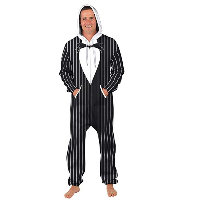 Men's Sleep Overalls One Piece Hoodie Zipper Jumpsuit Striped Heart Shape Print Romper One Piece Sleepwear