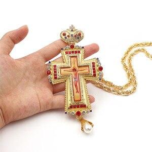 Image 5 - Croix pectorale en or, icône religieuse de baptême orthodoxe, croix de léglise chrétienne en colden
