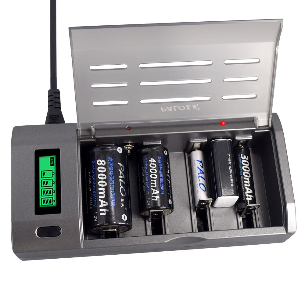 PALO Multi Usage 4 Slots LCD Display <font><b>Battery</b></font> <font><b>Charger</b></font> For Nimh Nicd 1.2V <font><b>AA</b></font> <font><b>AAA</b></font> C D size or <font><b>9V</b></font> Rechargeable <font><b>battery</b></font> Quick <font><b>Charger</b></font> image