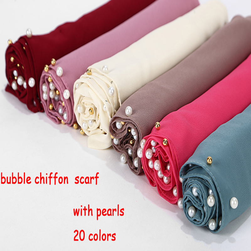 Bubble Chiffon Scarf Plain Shawls Golded Beaded Pearl Scarf Big Solider Color Foulard Femme Hijab Muslim Scarf 20 Color 180*75cm|Women