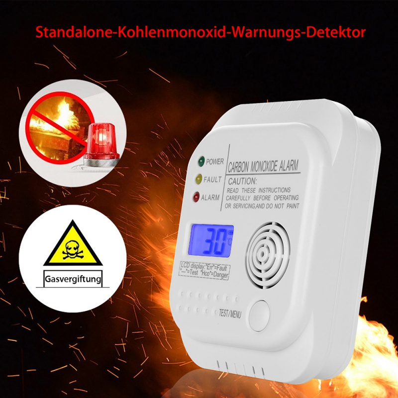 1Pcs Alarm Carbon Monoxide Detector Alarm Operated Poisoning Gas Warning Sensor Home Safety Device LCD Digital Display