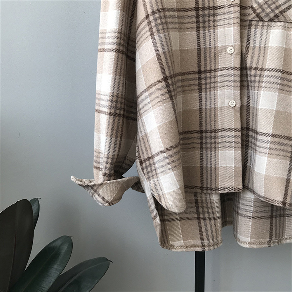 Spring Thick Loose cotton plaid Women blouses shirt 2020 female long sleeve Casual Warm women Blouse shirt office lady top Y0675 (19)