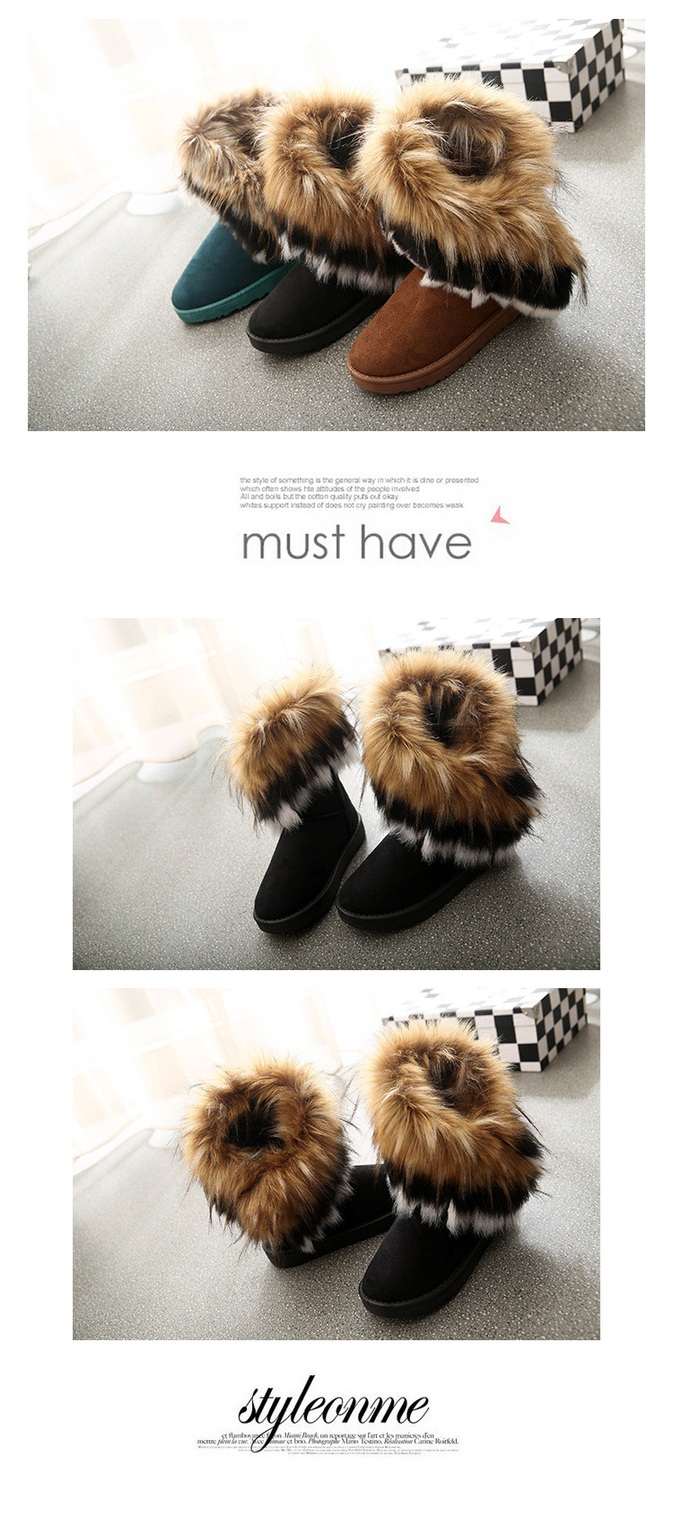 Women Fur Boots Ladies Winter Warm Ankle Boots For Women Snow Shoes Style Round-toe Slip On Female Flock Snow Boot Ladies Shoes 26