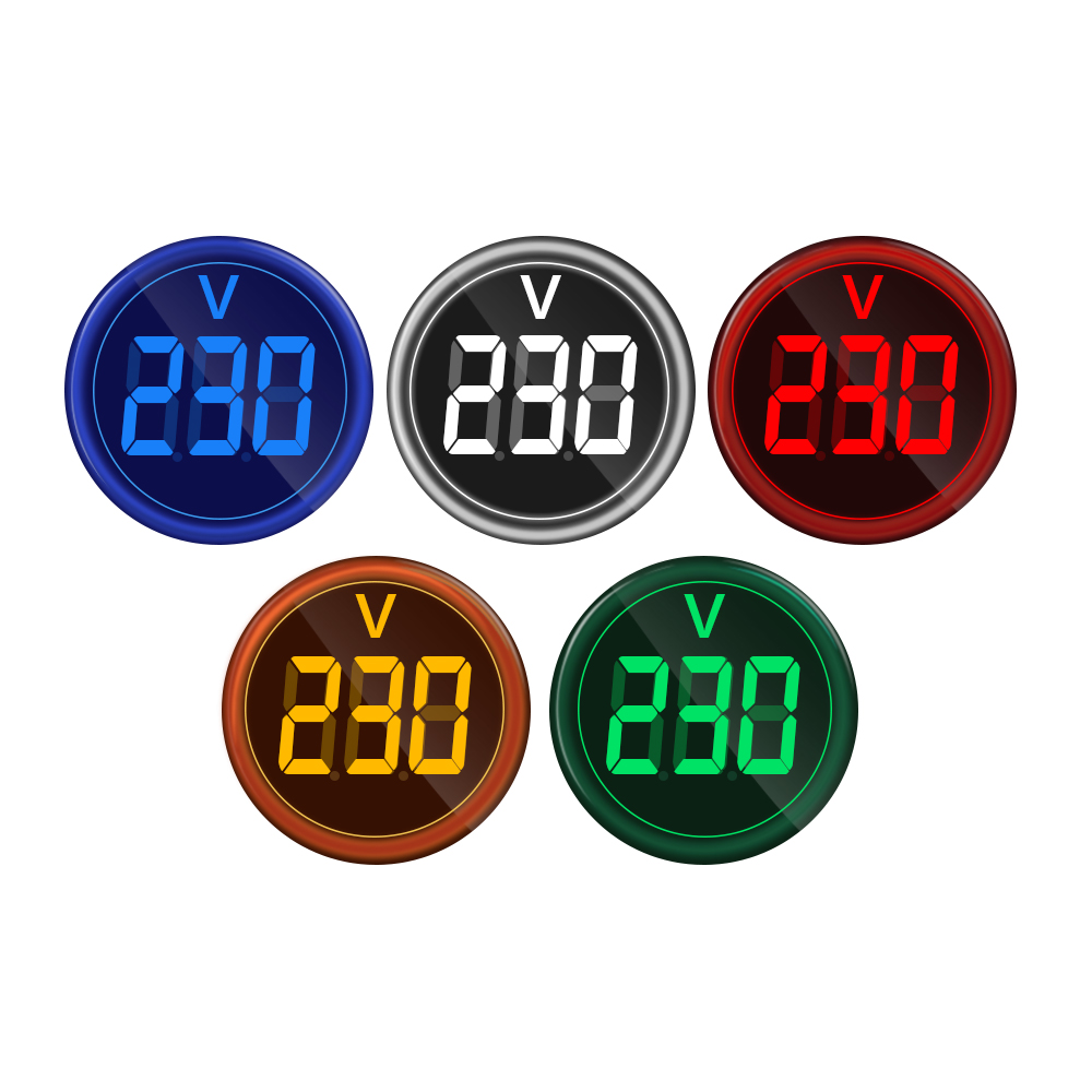 Digital Display Gauge Volt Voltage Meter Indicator Signal Lamp Voltmeter Lights Tester Combo Measuring Range 12-500V AC