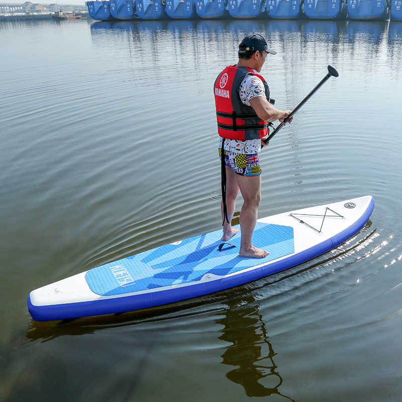 Placa de remo inflável, placa com parte inferior da barbatana inferior para controle de remoção de surf antiderrapante e deck para jovens e adultos barco de pé