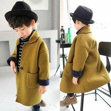 Шерстяное пальто для девочек коллекция года, осенняя плотная детская одежда для девочек осенне-зимняя одежда шерстяное пальто для больших детей куртки для мальчиков